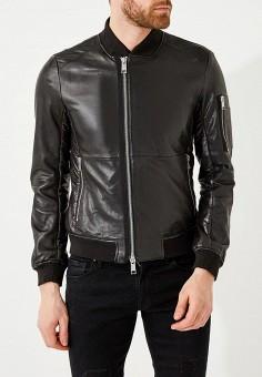 Куртка кожаная, Armani Exchange, цвет: черный. Артикул: AR037EMZTB91. Одежда / Верхняя одежда / Кожаные куртки