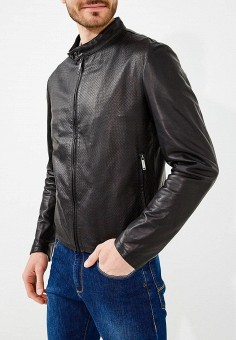 Куртка кожаная, Baldinini, цвет: черный. Артикул: BA097EMZYG97. Одежда / Верхняя одежда / Кожаные куртки
