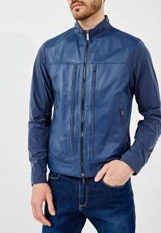 Куртка кожаная, Baldinini, цвет: синий. Артикул: BA097EMZYH01. Одежда / Верхняя одежда / Кожаные куртки