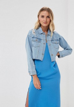 Куртка джинсовая, Befree, цвет: голубой. Артикул: BE031EWBDOW6. Одежда / Верхняя одежда / Джинсовые куртки