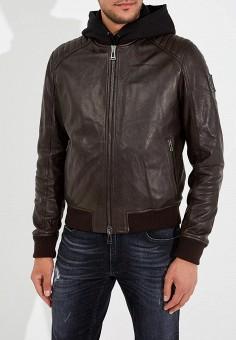 Куртка кожаная, Belstaff, цвет: коричневый. Артикул: BE083EMARMQ1. Одежда / Верхняя одежда / Кожаные куртки