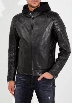 Куртка кожаная, Belstaff, цвет: черный. Артикул: BE083EMARMQ3. Одежда / Верхняя одежда / Кожаные куртки