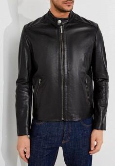 Куртка кожаная, Bikkembergs, цвет: черный. Артикул: BI535EMAIXY1. Одежда / Верхняя одежда / Кожаные куртки