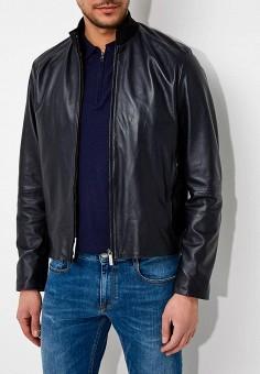 Куртка кожаная, Bikkembergs, цвет: синий. Артикул: BI535EMAIXY3. Одежда / Верхняя одежда / Кожаные куртки