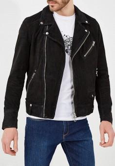 Куртка кожаная, Blouson, цвет: черный. Артикул: BL033EMAEOC3. Одежда / Верхняя одежда / Кожаные куртки