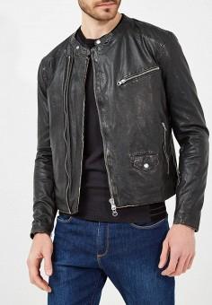 Куртка кожаная, Blouson, цвет: черный. Артикул: BL033EMAEOC8. Одежда / Верхняя одежда / Кожаные куртки