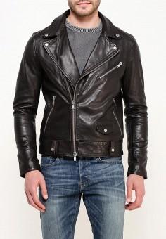Куртка кожаная, Blouson, цвет: коричневый. Артикул: BL033EMQGN46. Одежда / Верхняя одежда / Кожаные куртки