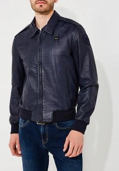 Куртка кожаная, Blauer, цвет: синий. Артикул: BL654EMAEXA5. Одежда / Верхняя одежда / Кожаные куртки