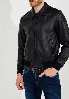Куртка кожаная, Blauer, цвет: черный. Артикул: BL654EMAEXA6. Одежда / Верхняя одежда / Кожаные куртки
