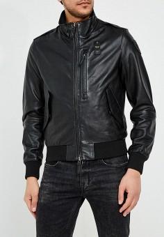 Куртка кожаная, Blauer, цвет: черный. Артикул: BL654EMAEXA8. Одежда / Верхняя одежда / Кожаные куртки