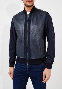 Куртка кожаная, Boss Hugo Boss, цвет: синий. Артикул: BO010EMAHVX2. Одежда / Верхняя одежда / Кожаные куртки