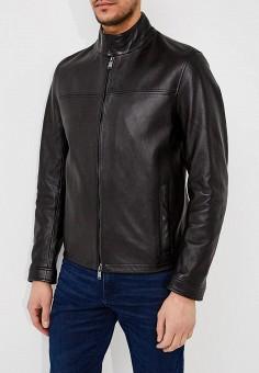 Куртка кожаная, Boss Hugo Boss, цвет: черный. Артикул: BO010EMAHVX3. Одежда / Верхняя одежда / Кожаные куртки
