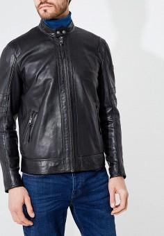 Куртка кожаная, Boss Hugo Boss, цвет: черный. Артикул: BO010EMBHOI8. Одежда / Верхняя одежда / Кожаные куртки