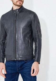 Куртка кожаная, Boss Hugo Boss, цвет: серый. Артикул: BO010EMBHOI9. Одежда / Верхняя одежда / Кожаные куртки