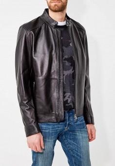 Куртка кожаная, Boss Hugo Boss, цвет: черный. Артикул: BO010EMYVD60. Одежда / Верхняя одежда / Кожаные куртки