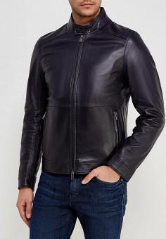 Куртка кожаная, Boss Hugo Boss, цвет: синий. Артикул: BO010EMYVD61. Одежда / Верхняя одежда / Кожаные куртки