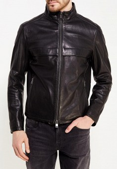 Куртка кожаная, Boss Hugo Boss, цвет: черный. Артикул: BO010EMYVD62. Одежда / Верхняя одежда / Кожаные куртки