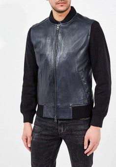 Куртка кожаная, Boss Hugo Boss, цвет: синий. Артикул: BO456EMAHTE4. Одежда / Верхняя одежда / Кожаные куртки