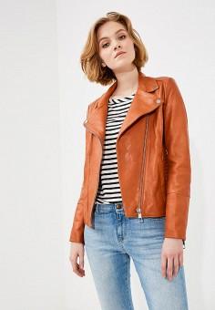 Куртка кожаная, Boss Hugo Boss, цвет: оранжевый. Артикул: BO456EWAHRY8. Одежда / Верхняя одежда