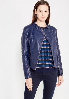 Куртка кожаная, B.Style, цвет: синий. Артикул: BS002EWWVU47. Одежда / Верхняя одежда