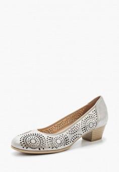 Туфли, Caprice, цвет: серебряный. Артикул: CA107AWAAHW6. Обувь / Туфли / Закрытые туфли