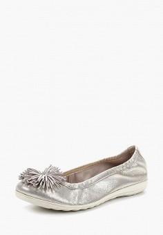 Балетки, Caprice, цвет: серебряный. Артикул: CA107AWAAIZ9. Обувь / Балетки