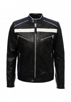 Куртка кожаная, Calvin Klein Jeans, цвет: черный. Артикул: CA939EMUHM90. Одежда / Верхняя одежда / Кожаные куртки