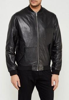 Куртка кожаная, Calvin Klein Jeans, цвет: черный. Артикул: CA939EMZJT25. Одежда / Верхняя одежда / Кожаные куртки