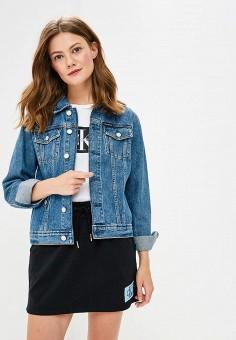 Куртка джинсовая, Calvin Klein Jeans, цвет: синий. Артикул: CA939EWBTHR1. Одежда / Верхняя одежда / Джинсовые куртки