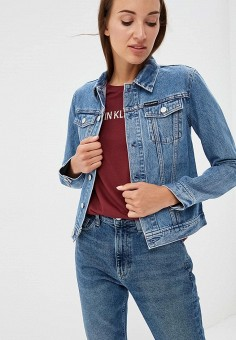Куртка джинсовая, Calvin Klein Jeans, цвет: голубой. Артикул: CA939EWBTHR2. Одежда / Верхняя одежда / Джинсовые куртки
