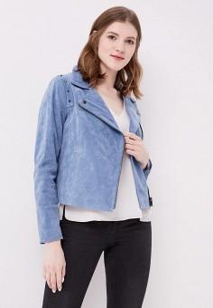 Куртка кожаная, Cortefiel, цвет: голубой. Артикул: CO046EWAIHB6. Одежда / Верхняя одежда
