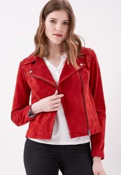 Куртка кожаная, Cortefiel, цвет: красный. Артикул: CO046EWAIHB7. Одежда / Верхняя одежда