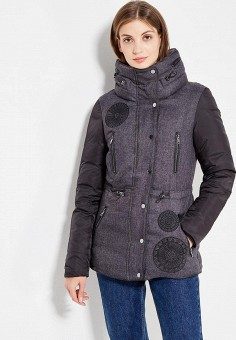 Куртка утепленная, Desigual, цвет: серый. Артикул: DE002EWULA60. Одежда / Верхняя одежда