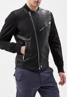Куртка кожаная, Diesel, цвет: черный. Артикул: DI303EMAEWQ4. Одежда / Верхняя одежда / Кожаные куртки
