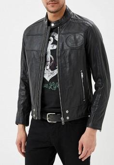 Куртка кожаная, Diesel, цвет: черный. Артикул: DI303EMAEWQ5. Одежда / Верхняя одежда / Кожаные куртки