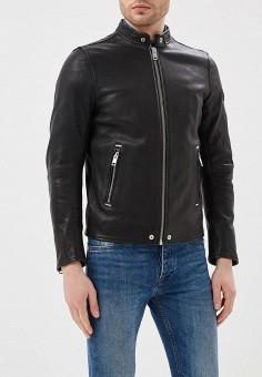 Куртка кожаная, Diesel, цвет: черный. Артикул: DI303EMASVB0. Одежда / Верхняя одежда / Кожаные куртки