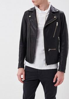 Куртка кожаная, Diesel, цвет: черный. Артикул: DI303EMASVB1. Одежда / Верхняя одежда / Кожаные куртки