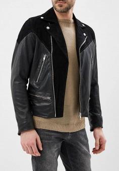 Куртка кожаная, Diesel, цвет: черный. Артикул: DI303EMASVE8. Одежда / Верхняя одежда / Кожаные куртки