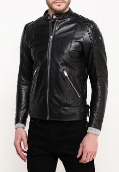 Куртка кожаная, Diesel, цвет: черный. Артикул: DI303EMPND64. Одежда / Верхняя одежда / Кожаные куртки