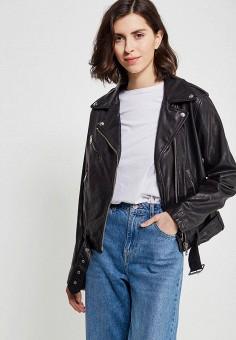 Куртка кожаная, Diesel, цвет: черный. Артикул: DI303EWADBU7. Одежда / Верхняя одежда / Кожаные куртки