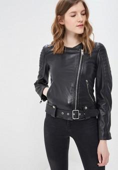 Куртка кожаная, Diesel, цвет: черный. Артикул: DI303EWASVD2. Одежда / Верхняя одежда / Кожаные куртки