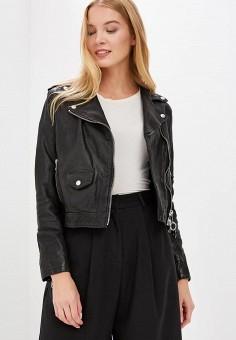 Куртка кожаная, Diesel, цвет: черный. Артикул: DI303EWBVGO7. Одежда / Верхняя одежда / Кожаные куртки