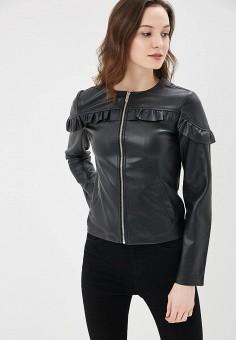 Куртка кожаная, Dorothy Perkins, цвет: черный. Артикул: DO005EWAVUG3. Одежда / Верхняя одежда / Демисезонные куртки