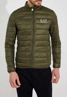 Пуховик, EA7, цвет: хаки. Артикул: EA002EMUEE41. Одежда / Верхняя одежда / Пуховики и зимние куртки