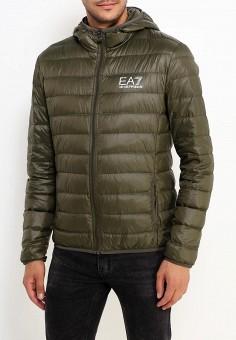 Пуховик, EA7, цвет: хаки. Артикул: EA002EMUEK27. Одежда / Верхняя одежда / Пуховики и зимние куртки