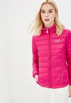 Пуховик, EA7, цвет: розовый. Артикул: EA002EWBODV1. Одежда / Верхняя одежда