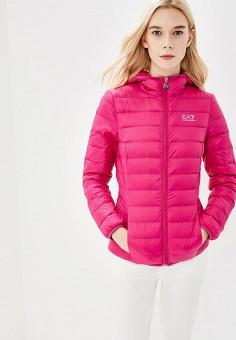 Пуховик, EA7, цвет: розовый. Артикул: EA002EWBODV3. Одежда / Верхняя одежда
