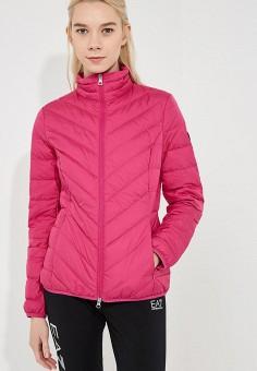 Пуховик, EA7, цвет: розовый. Артикул: EA002EWBODV8. Одежда / Верхняя одежда
