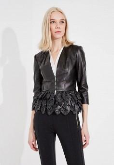 Куртка кожаная, Elisabetta Franchi, цвет: черный. Артикул: EL037EWYRY30. Одежда / Верхняя одежда