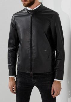 Куртка кожаная, Emporio Armani, цвет: черный. Артикул: EM598EMZWG47. Одежда / Верхняя одежда / Кожаные куртки